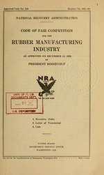 Code of fair competition for the rubber manufacturing industry