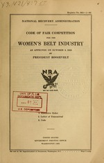 Code of fair competition for the women's belt industry