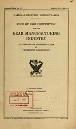 Code of fair competition for the gear manufacturing industry