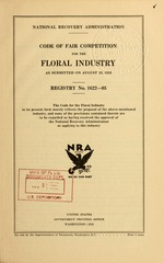 Code of fair competition for the floral industry as submitted on August 25, 1933
