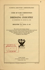 Code of fair competition for the dredging industry as submitted on August 26, 1933