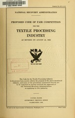 Proposed code of fair competition for the textile processing industry