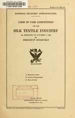 Code of fair competition for the silk textile industry