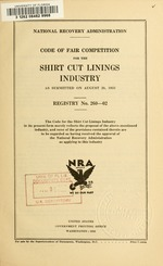 Code of fair competition for the shirt cut linings industry