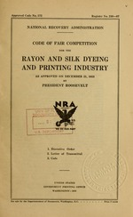 Code of fair competition for the rayon and silk dyeing and printing industry