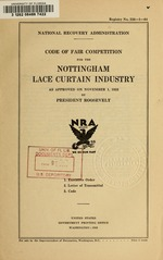 Code of fair competition for the Nottingham lace curtain industry