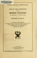Code of fair competition for the mirror industry