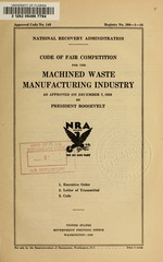 Code of fair competition for the machined waste manufacturing industry