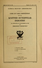 Code of fair competition for the knitted outerwear industry