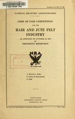 Code of fair competition for the hair and jute felt industry