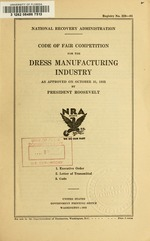 Code of fair competition for the dress manufacturing industry
