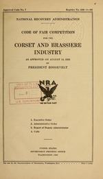 Code of fair competition for the corset and brassiere industry