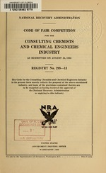 Code of fair competition for the consulting chemists and chemical engineers industry