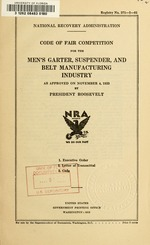 Code of fair competition for the men's garter, suspender, and belt manufacturing industry