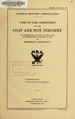 Code of fair competition for the coat & suit industry