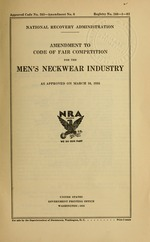 Amendment to code of fair competition for the men's neckwear industry as approved on March 16, 1935