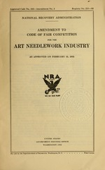 Amendment to code of fair competition for the art needlework industry as approved on February 15, 1935