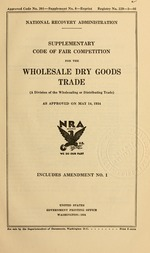 Supplementary code of fair competition for the wholesale dry goods trade
