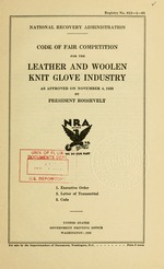 Code of fair competition for the leather and woolen knit glove industry