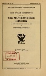 Code of fair competition for the can manufacturers industry