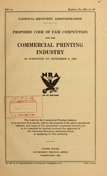 Proposed code of fair competition for the commercial printing industry as submitted on September 6, 1933