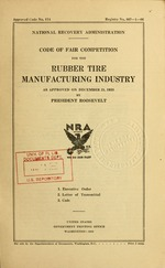 Code of fair competition for the rubber tire manufacturing industry