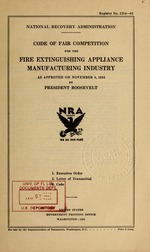 Code of fair competition for the fire extinguishing appliance manufacturing industry