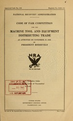 Code of fair competition for the machine tool and equipment distributing trade