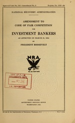 Amendment to code of fair competition for investment bankers