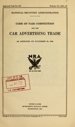 Code of fair competition for the car advertising trade as approved on November 22, 1934