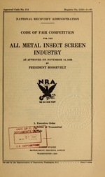 Code of fair competition for the all metal insect screen industry