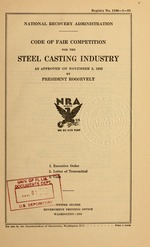 Code of fair competition for the steel casting industry