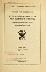 Code of fair competition for the stone finishing machinery and equipment industry