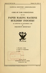 Code of fair competition for the paper making machine builders' industry
