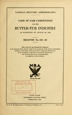 Code of fair competition for the butter-tub industry as submitted on August 30, 1933