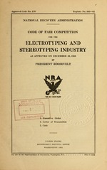 Code of fair competition for the electrotyping and stereotyping industry