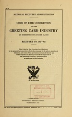 Code of fair competition for the greeting card industry as submitted on August 22, 1933