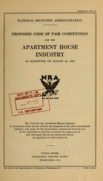 Proposed code of fair competition for the apartment house industry as submitted on August 29, 1933