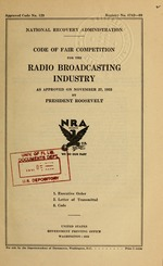 Code of fair competition for the radio broadcasting industry