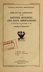 Code of fair competition for the savings, building and loan association