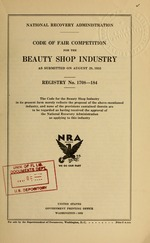Code of fair competition for the beauty shop industry as submitted on August 29, 1933
