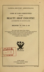 Code of fair competition for the beauty shop industry as submitted on August 26, 1933