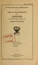 Code of fair competition for bankers as approved on October 3, 1933
