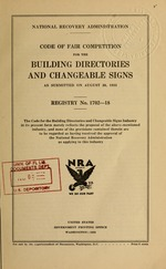 Code of fair competition for the building directories and changeable signs