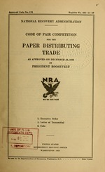Code of fair competition for the paper distributing trade