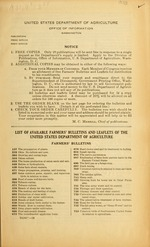 List of available Farmers' bulletins and Leaflets of the United States Department of Agriculture