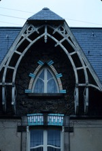 Exterior of building with arched gable