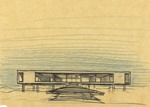 Dickinson Residence (William N. Morgan, FAIA) - Elevation sketch on trace paper-Color