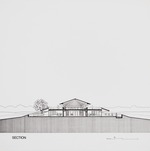 Thomas House (Hilltop House) by William N. Morgan, FAIA - Presentation rendering of section; Ink on vellum