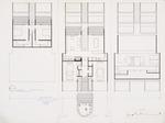 Floor plans presentation drawing; Ink on vellum